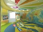 Детская игровая комната с фото пано с динозавриками и картой мира в 2-х этажном коттедже с мансардой