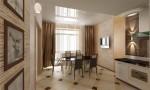 Кухня-столовая в 2-х этажном коттедже с мансардой