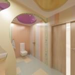 Сан.узел для ребёнка и родителей на 2-м этаже в 2-х этажном коттедже с мансардой