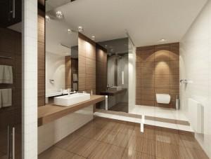 Сан.узел в цокольном этаже. Выполнен в современном стиле с использованием контрастов цветов и фактур.