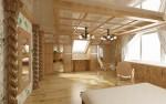 Спальня родителей на мансардном этаже выполненная в русском стиле.