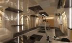 Спортивная комната с теннисом в цокольном этаже в 2-х этажном коттедже с мансардой