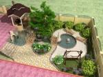 Ландшафтный дизайн с беседкой барбекю и альпийской горкой с водопадом
