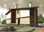 1 этажный проект коттеджа с мансардой выполнен в 3d max v-ray