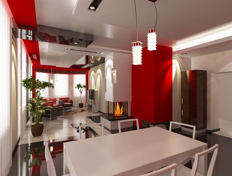 Интерьер гостиной в красно-чёрно-белом цвете