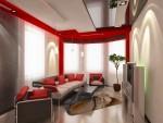 Дизайн интерьеров коттеджа с мансардой. Гостиная в красно-чёрно-белых тонах
