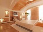 Дизайн интерьеров коттеджа с мансардой. Спальня, вариант 1