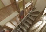 Дизайн интерьеров коттеджа с мансардой. Лестница