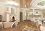Дизайн гостиной, кухни-столовой в коттедже