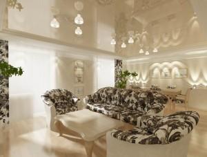Квартира в светлых пастельных тонах. Дизайн интерьера гостиной