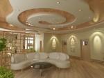 Дизайн холла со сложными многоуровневыми потолками