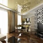 Дизайн гостиной, кухни-столовой в 3-х комнатной квартире