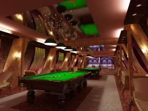 Дизайн бильярдной в мансардном этаже