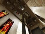 Коридор. В устройстве потолков применено подвешенное тонированное стекло в которых встроены точечные светильники