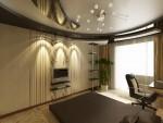 Спальня старшего сына со сложным композиционным многоуровневым потолком в 6-ти комнатной квартире. Екатеринбург