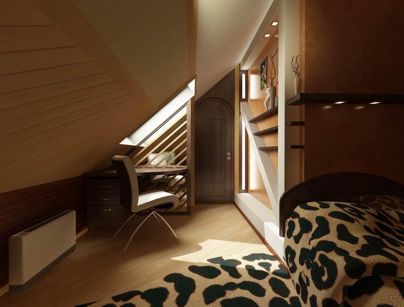 Дизайн гостевой спальни в мансарде
