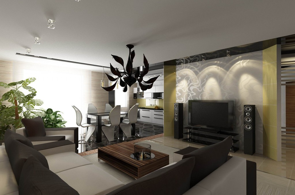 Дизайн интерьера квартиры, дизайн гостиной-кухни-столовой. Вариант 3
