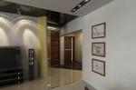 Дизайн интерьера гостиной, вид на прихожую