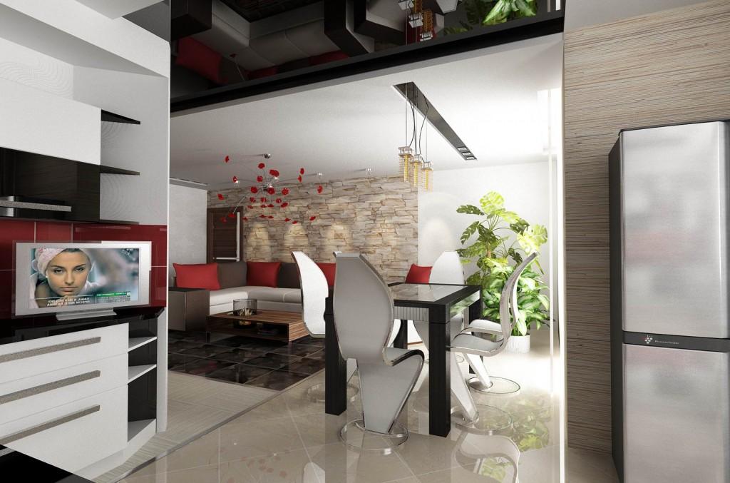 Дизайн интерьера квартиры, дизайн гостиной-кухни-столовой. Вариант 1