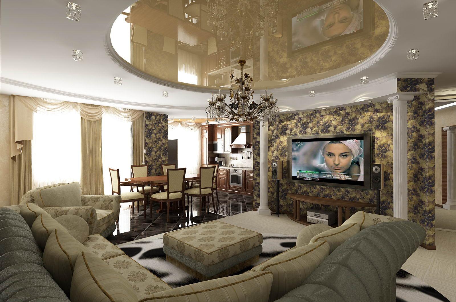 дизайн интерьера гостиной кухни столовой 5 ти комнатной квартиры