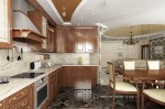 Дизайн интерьера квартиры, дизайн гостиной-кухни-столовой. Вариант 2