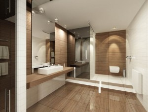 Дизайн туалета с душевой из плитки и стекла