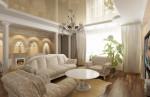 Дизайн гостиной с камином. Вариант 1. Классические интерьеры