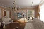 Интерьер квартиры в современной классике. Гостиная с камином