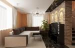 Дизайн интерьера гостиной в коттедже с мансардой