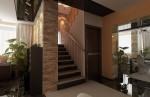 Дизайн интерьера лестницы в коттедже с мансардой