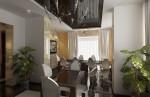 Дизайн интерьера столовой в коттедже с мансардой