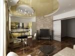 Дизайн интерьера гостиной в 3-х комнатной квартире. Вариант 1