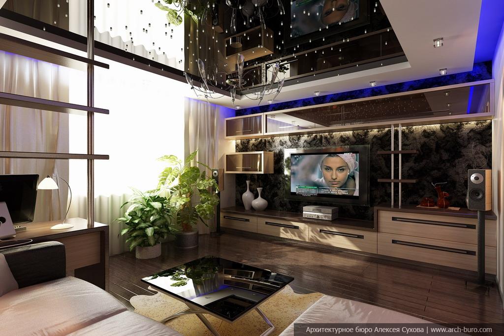Дизайн квартиры в современном стиле. Гостиная