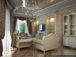 Дизайн гостиной-кухни-столовой в классическом стиле