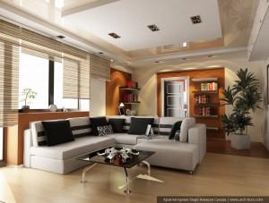 Дизайн квартиры в Москве. Гостиная с рабочей зоной