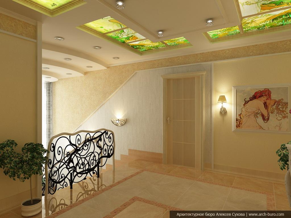 фото и дизайн гипсокартонные потолки в холле пушистики