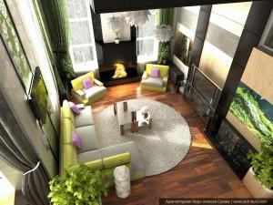 Дизайн гостиной в коттедже. Посёлок Растущий, Екатеринбург