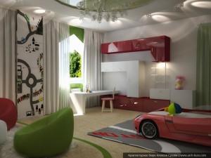 Дизайн интерьеров коттеджа. Спальня сына, вариант - 2