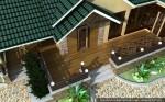 Архитектурный проект бани с бассейном и террасой для шезлонгов