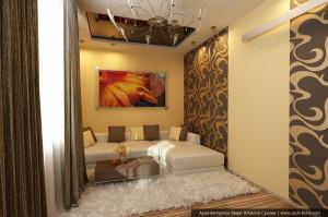 Дизайн интерьера ХМАО г. Урай. Дизайн гостиной с диванной зоной