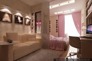 Услуги дизайнера интерьера. Дизайн гостиной в однокомнатной квартире