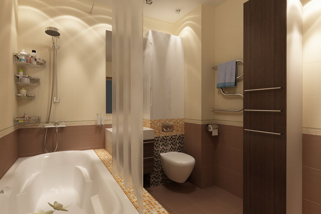 Дизайн ванной комнаты для однокомнатной квартиры