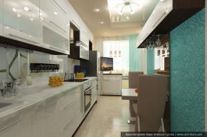 Дизайн квартиры в городе Тарко-Сале. ЯНАО. Интерьер кухни-столовой