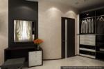 Интерьеры коттеджа с мансардой. Дизайн гардеробной комнаты в спальне родителей.