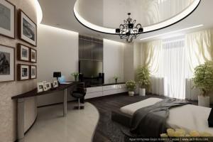 Интерьеры коттеджа с мансардой. Дизайн спальной комнаты.