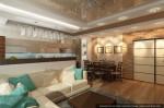 Студия дизайна интерера. Эскизный проект гостиной совмещенной с кухней-столовой.