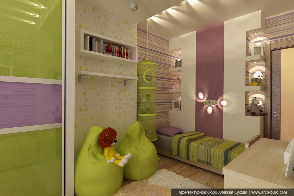 дизайн спальни взрослой с детской в одной комнате фото для двоих детей