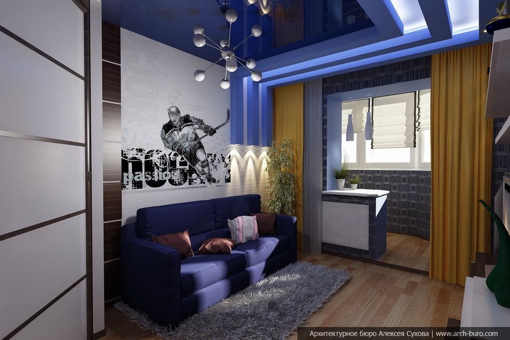 Дизайн обоев в комнатах соединенных с лоджией.