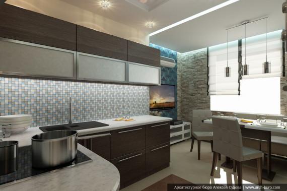 Дизайн элитной квартиры. Кухня-гостиная