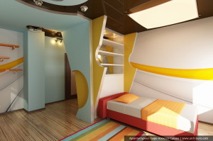 Дизайн коттеджа в Санкт-Петербурге. Спальня младшего сына